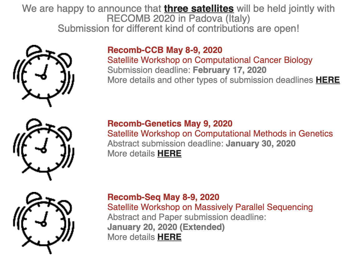RECOMB 2020 Satellite Meetings