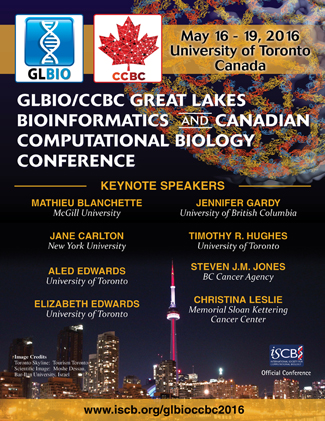 The GLBIO/CCBC Great Lakes Bioinformatics and the Canadian Computational Biology Conference 2016, May 16 - 19, 2016