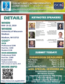 GLBIO 2019 - 2019 Great Lakes Bioinformatics Conference May 19 - 22, 2019, University of Wisconsin at Madison