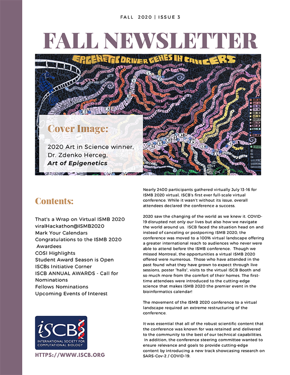Fall 2020 ISCB Newsletter